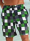 Buffalo Green Checked Swimming Shorts
