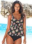 LASCANA Black Underwired Floral Tankini