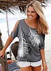 LASCANA Grey Feather Print T-Shirt