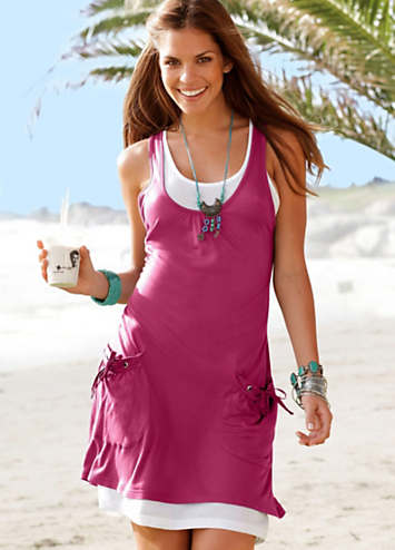 Beachtime Berry Layered Beach Dress