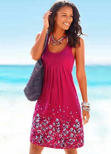 Beachtime Berry Petal Print Sun Dress