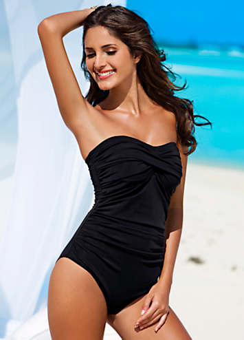 Black Ruched Bandeau Swimsuit