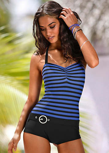 KangaROOS Blue Striped Boyleg Swimsuit