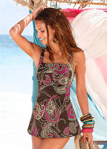 LASCANA Brown Paisley Swimdress