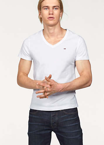 white v neck t shirt by tommy hilfiger swimwear365. Black Bedroom Furniture Sets. Home Design Ideas