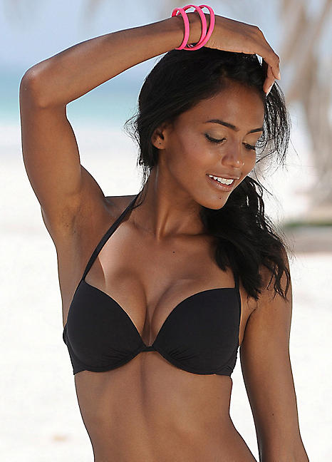 Bikini top by Dorina, Stretch swim fabric, Padded cups, Cleavage-enhancing design, Clasp fastening, Hand wash, Sizing runs small on this product, It may be advisable to size up, 80% Polyamide, 20% Elastane, Our model wears a UK