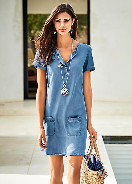 Heine Blue Short Sleeved Chambray Dress | Swimwear365