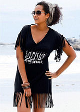 Beachtime Black V-Neck Beach Dress