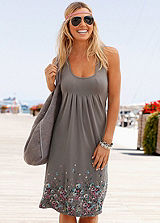 Beachtime Taupe Floral Beach Dress
