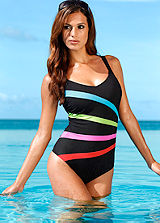 Black Striped Swimsuit