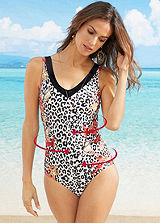Black Tiger Print Swimsuit