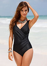 Black Tummy-Wrap Shaping Swimsuit