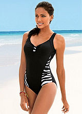 Black Zebra Side-Print Swimsuit