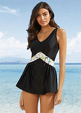 Brown Side-Tie Tankini Top