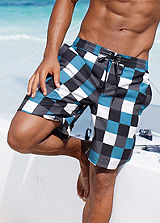 Buffalo Blue Checked Swimming Shorts