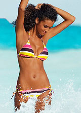 Buffalo Pink Striped Triangle Bikini