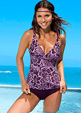H.I.S Purple Print Underwired Tankini