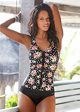 LASCANA Black Floral Shaping Swimsuit