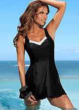 LASCANA Black Flowing Swimdress
