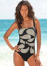 LASCANA Black Retro Print Swimsuit