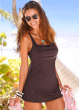 LASCANA Brown Square Neck Swimdress