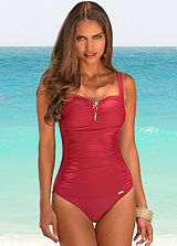 LASCANA Red Ruched Swimsuit