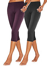 Pack of 2 Berry & Black Cropped Leggings