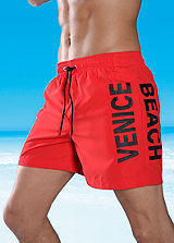 Venice Beach Red Dynamic Print Swimming Shorts