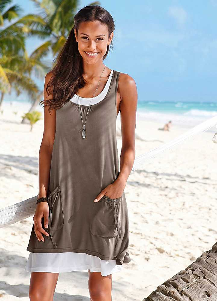 Home Beachtime Khaki Layered Beach Dress