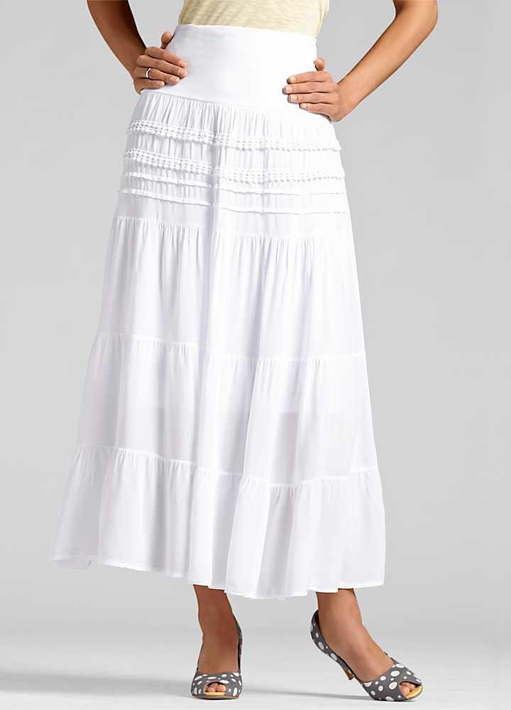 white tiered maxi skirt fashion womens