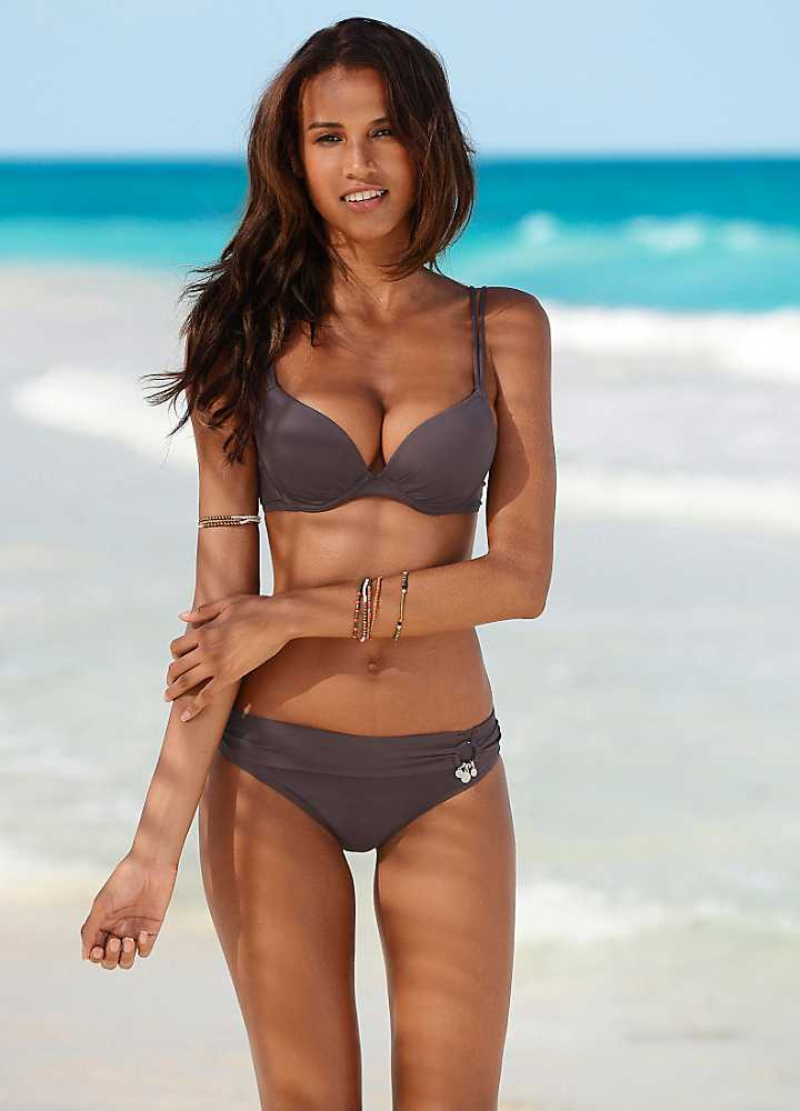 """Swim fabric Leopard print Elastic cross strap detail with gold metallic stitch High apex Triangle cups Our model wears a UK 8 and is cm/5'9"""" tall."""